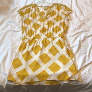 Umgee Yellow Print Dress, medium with waistband